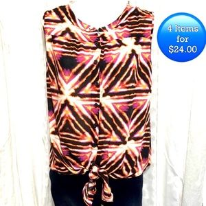 Tops - Wild print button down tank with knot SZ S-M